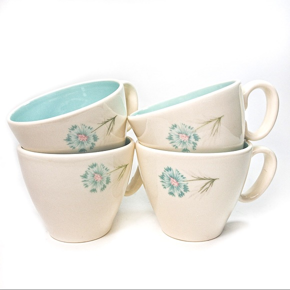 4 Vintage MCM Ever Yours Boutonnière Coffee Cups